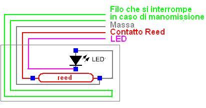 Lo schema elettrico del sensore reed