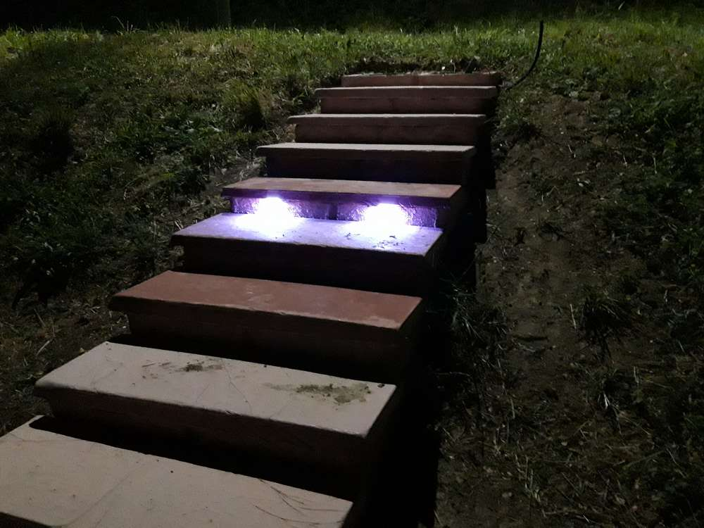 The step with the LED lights on