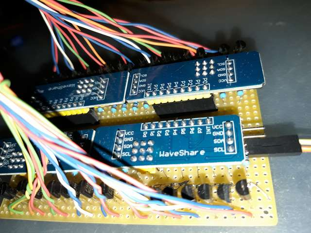 LED driving board with PCF8574 modules - Detail